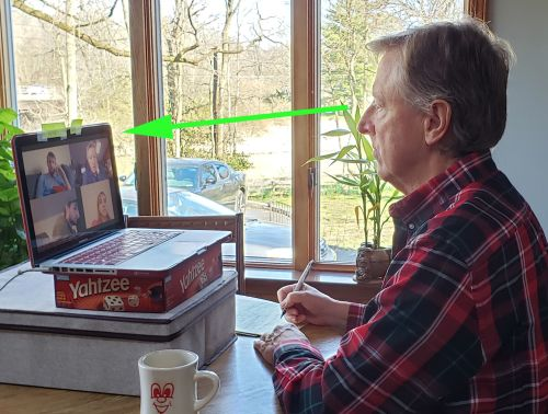 Webcam eye contact in zoom conference call