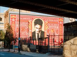 """Shepard Fairey's """"Stamp of Incarceration"""" Mural, featuring James Anderson"""