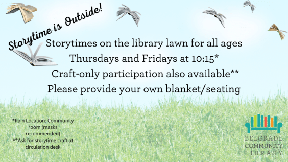 Outdoor weekly storytime Thursdays and Fridays on the library lawn