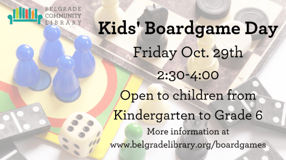 Kids Boardgame Day October 29 2:30 PM