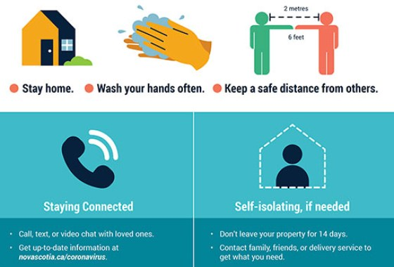 Wash your hands, 2m distance, stay home, self isolate