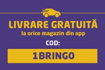 LIVRARE GRATUITĂ la prima comandă prin Bringo!
