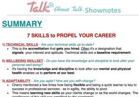 talk about talk upskilling list