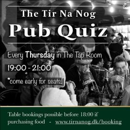 Pub Quiz every Thursday from 19:00 in the Tap Room