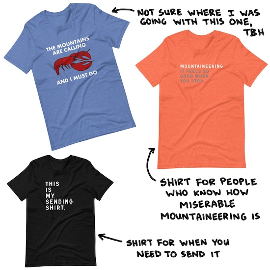mountains are calling lobster t-shirt, mountaineering t-shirt, sending shirt