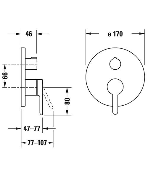 Duravit C.1 Round Concealed Manual Bath Mixer Valve With