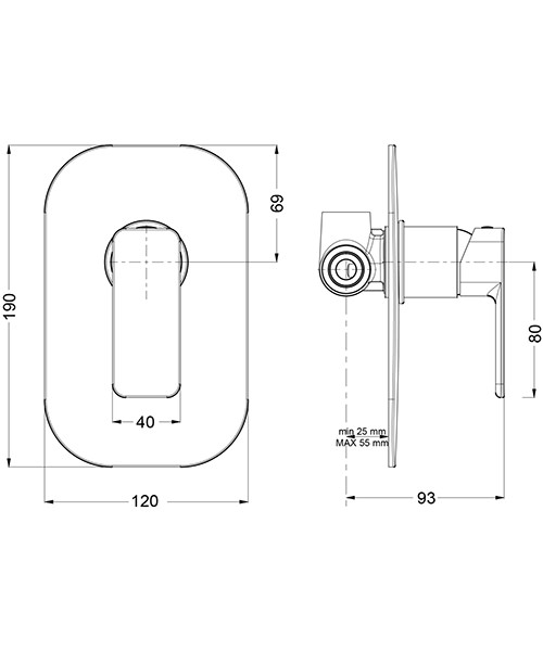 Crosswater Atoll Recessed Chrome Manual Shower Valve