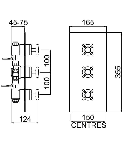 Bristan 1901 Chrome Thermostatic Recessed Three Handle