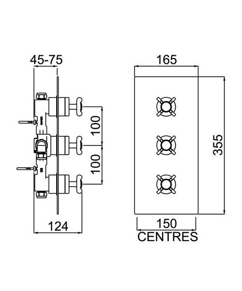 Bristan 1901 Thermostatic Recessed Three Handle Control