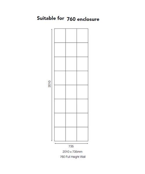 Mira Flight 735 X 2010mm Wall Panel For 760mm Enclosure