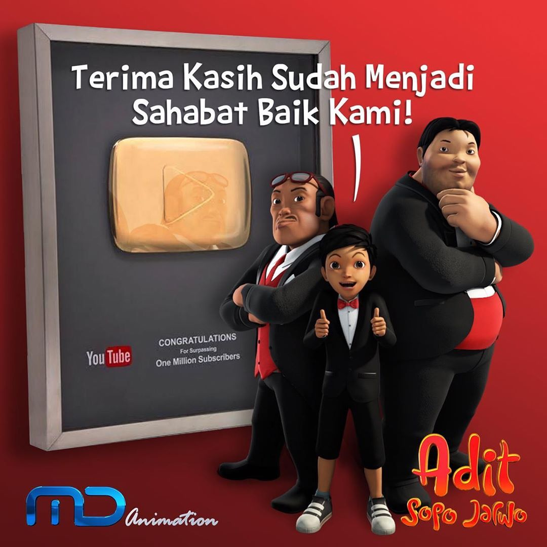 YouTube MD Animation Memiliki Satu Juta Subscribe, Terima Kasih