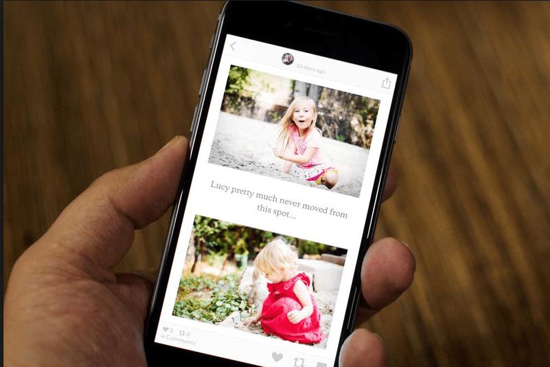 iPhone mostrando pantalla de la app de storytelling fotografico Storehouse.