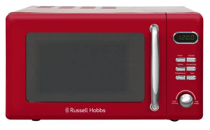 retro red compact digital microwave