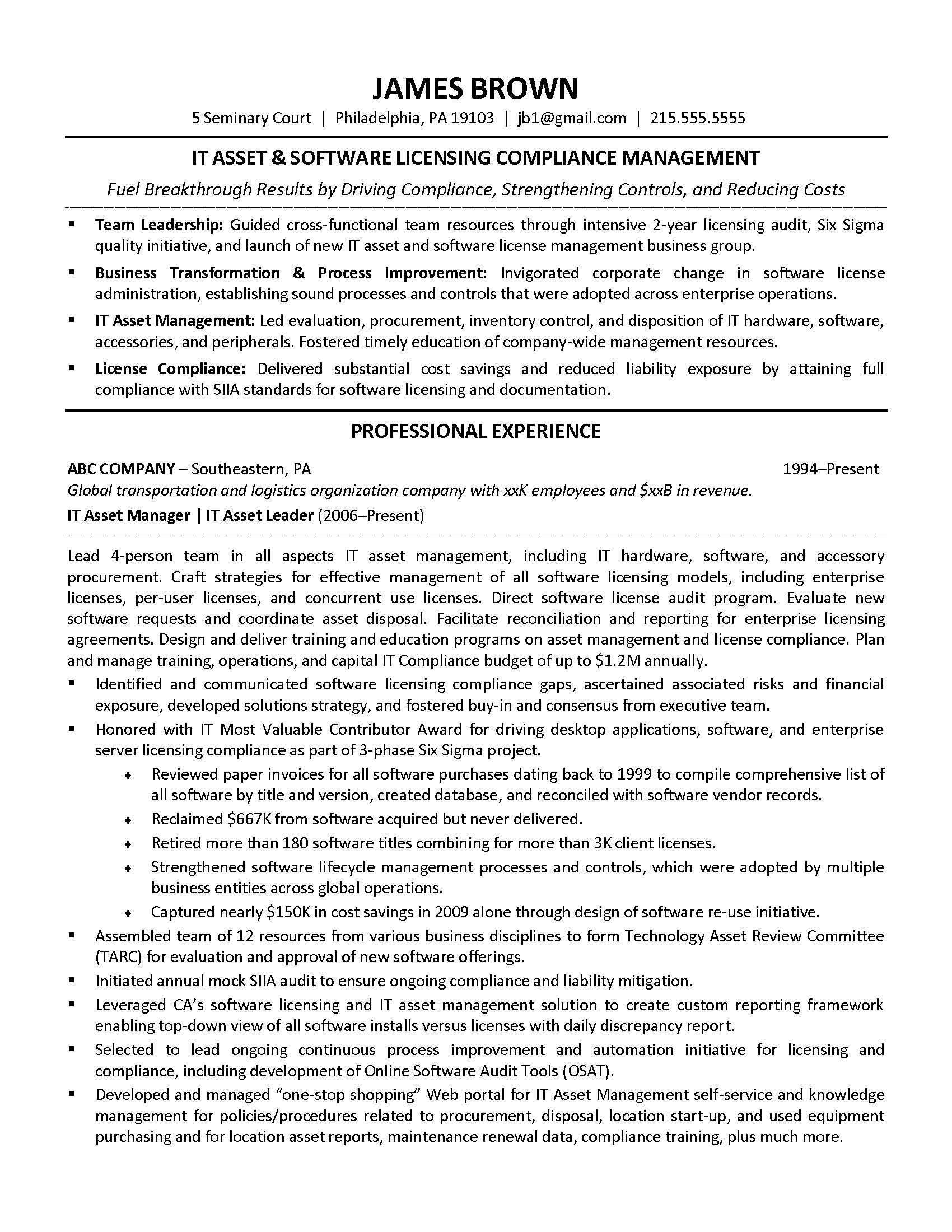 It Asset Management Resume Sample It Resume Ittechexec Protecting Tech Careers Since 2001