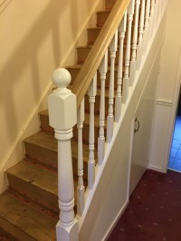 White & wood combination refurbished stairs Birmingham