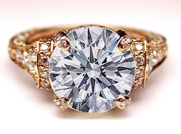 Engagement Ring Large Engagement Ring Graduated Diamonds In Rose GoldES745BRRG