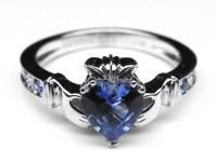 European Engagement Ring - Claddagh Ring Heart Blue ...