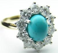 European Engagement Ring - Oval Turquoise Flower Diamond ...