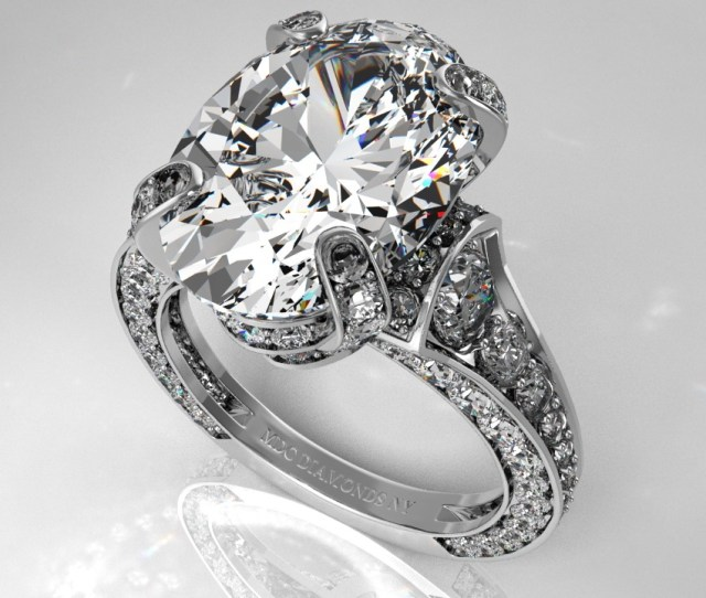 Large Oval Engagement Ring Graduated Diamonds