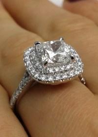 Engagement Ring -Cushion Diamond Double Halo Pave ...