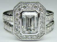 Wedding rings with engraved: Emerald cut diamond wedding ...