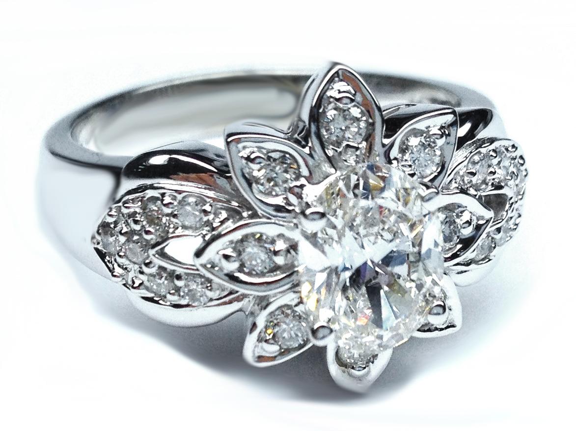 Engagement Ring -Antique Oval Diamond Flower Engagement