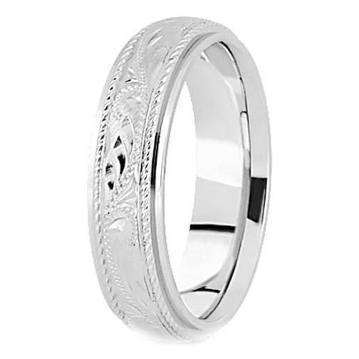 White Gold Engraved Wedding Bands Platinum Vintage