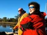 Captain Ralph Tarr and MCBP volunteer Linda Allen head out on the Bay
