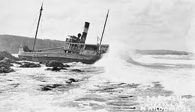 The Bodalla after running aground at Narooma..