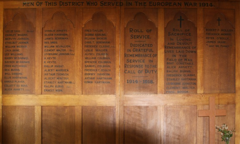 The Honour Roll in the old hall of St John's Anglican Church, Moruya.