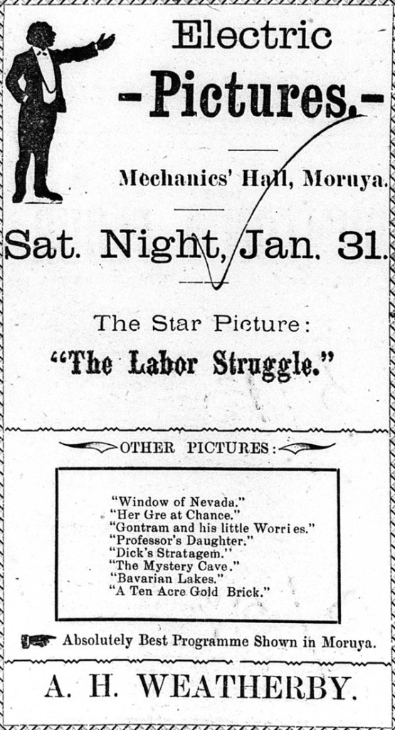 The Moruya Examiner's advertisement for Mr Weatherby's picture show the following week.