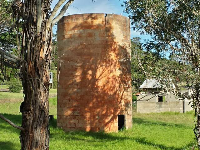 The silo at Neil Davis Reserve, Coila.