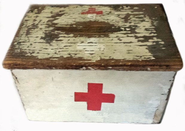 A donation box used to collect money for the Red Cross during World War 1. This box is currently on display at the Moruya Museum.