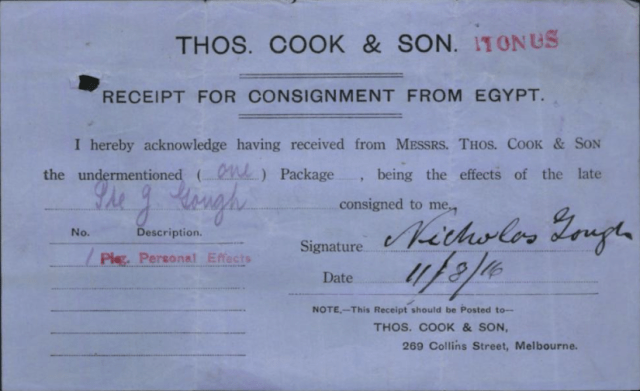 It must have been very difficult for Nicholas Gough to receive his brother Jim's personal effects nearly a year after his death at Gallipoli