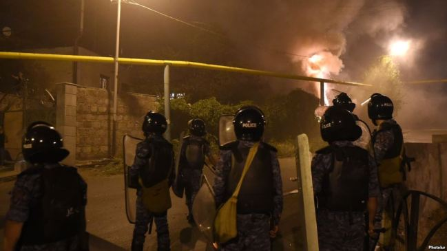 On the 13th day of the occupation of Patrol-Guard Service Regiment of Erebuni district by 'Sasna Tsrer' group, protesting people marched to Sari Tagh and clashed with policemen in Yerevan, Armenia