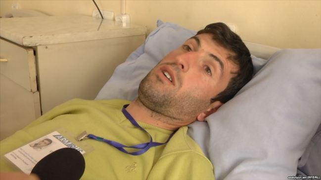 Armenia -- Journalist Tirayr Muradyan beaten up during protests in Yerevan, 19Apr2018