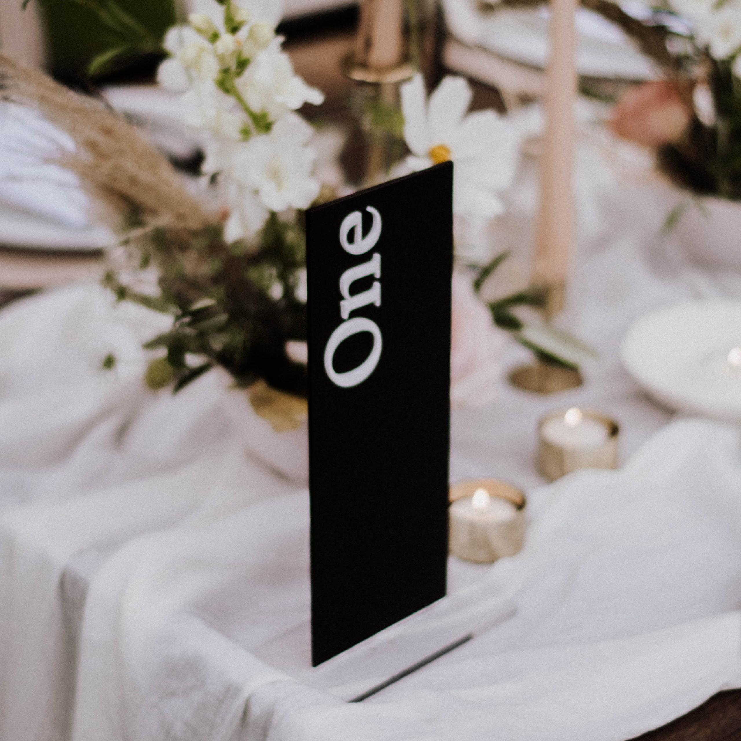 Black and White Tall Table Number