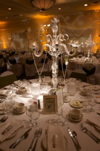 Table pin spot lighting for an Indiana wedding