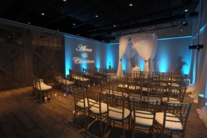 Blue uplighting and gobo for a ceremony