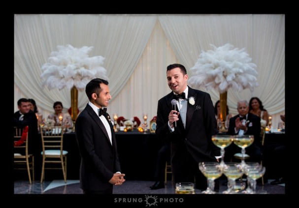 Harold Washington Library Gay Wedding Head Table Drape photo by Sprung Photo