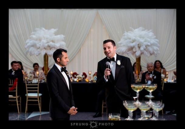 Harold Washington Library Gay Wedding Head Table Drape photo by Sprung Photo