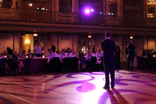 Pattern lighting on floor at Hilton wedding