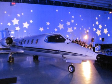 Wedding lighting in airplane hanger