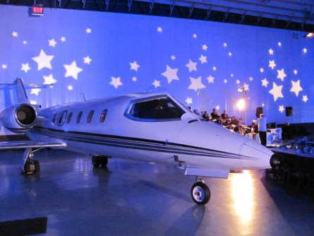 Wedding lighting in airplane hanger