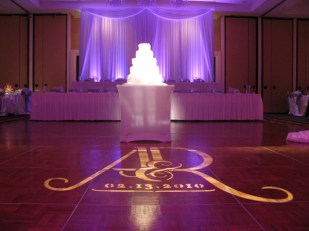 Custom monogram gobo and backdrop