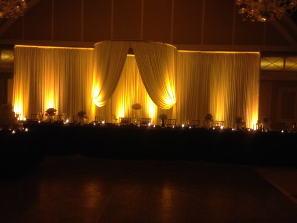 Wedding drape backdrop for head table