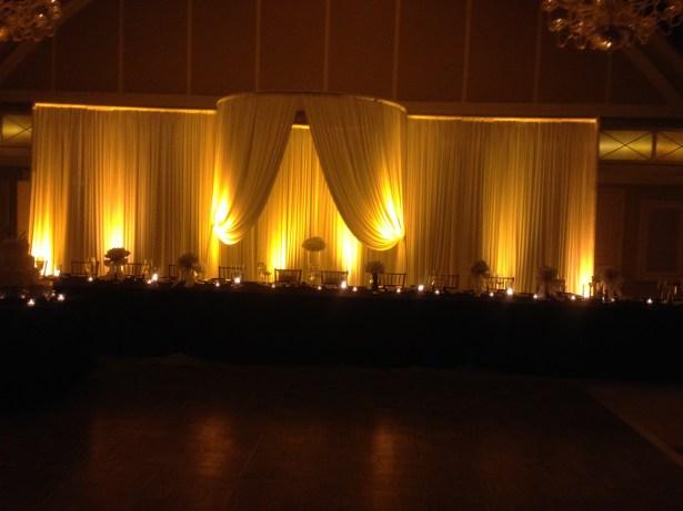 Wedding drape backdrop for head table