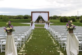 Wood Ceremony Strucutre with Drape for a Makray Wedding