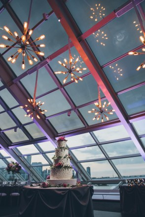 Sputnik Chandelier Lighting at an Adler Planetarium Wedding
