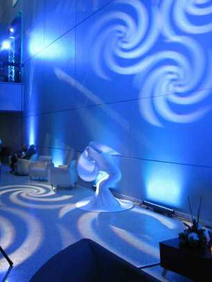 Event Lighting at Lewis University Science Building - Living Art Dancer and Intelligent Lighting